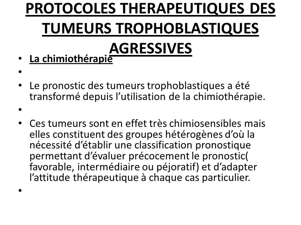 PROTOCOLES THERAPEUTIQUES DES TUMEURS TROPHOBLASTIQUES AGRESSIVES