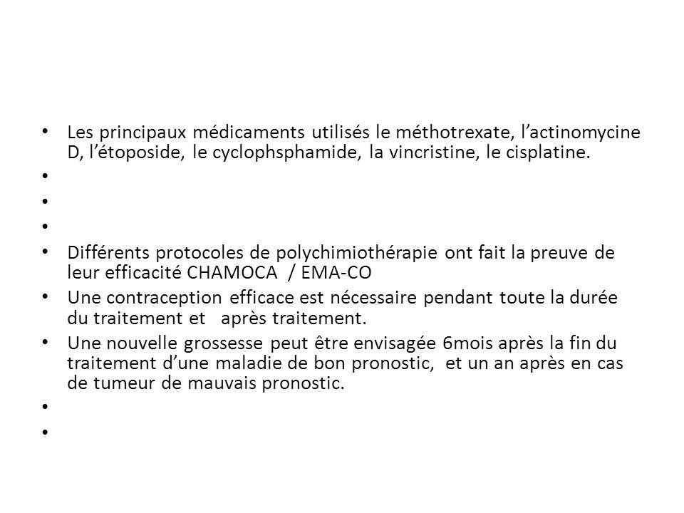 Les principaux médicaments utilisés le méthotrexate, l'actinomycine D, l'étoposide, le cyclophsphamide, la vincristine, le cisplatine.