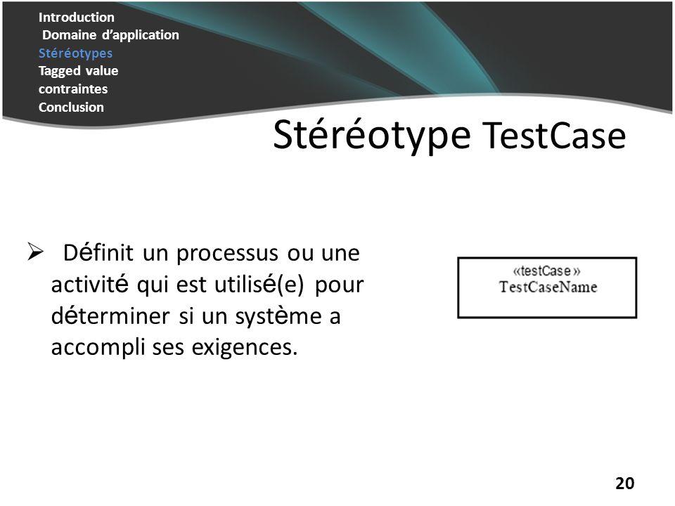 Introduction Domaine d'application Stéréotypes Tagged value contraintes Conclusion