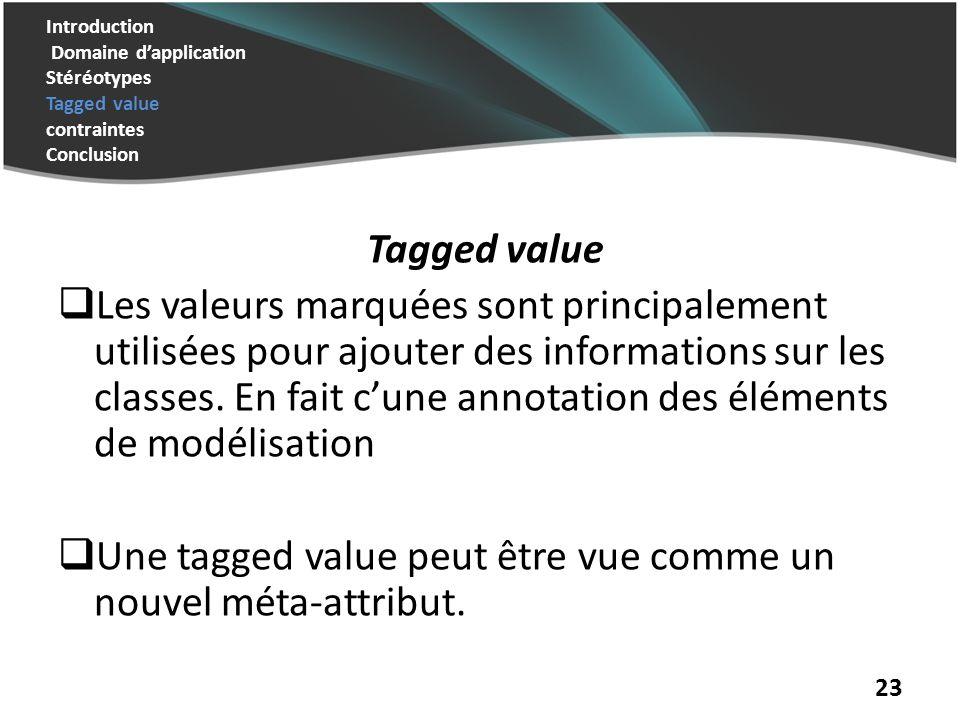 Une tagged value peut être vue comme un nouvel méta-attribut.