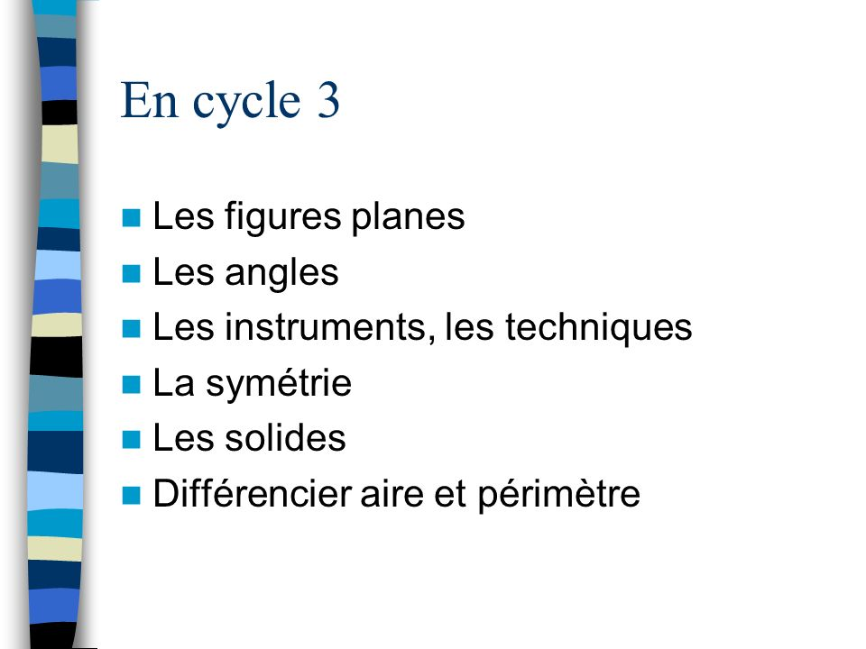 En cycle 3 Les figures planes Les angles