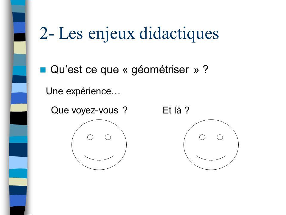 2- Les enjeux didactiques