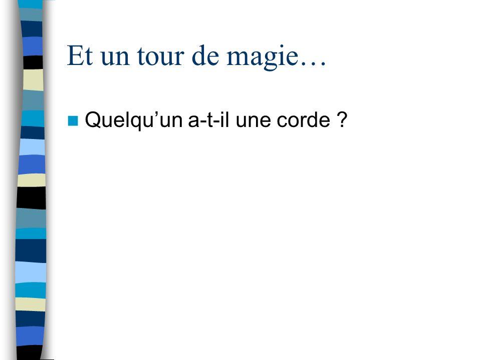 Et un tour de magie… Quelqu'un a-t-il une corde