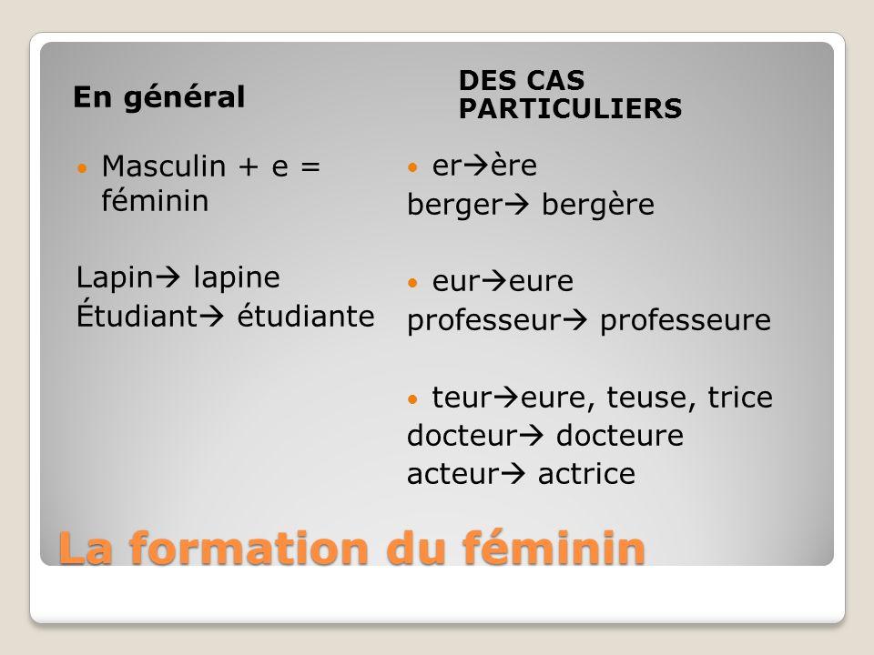 La formation du féminin