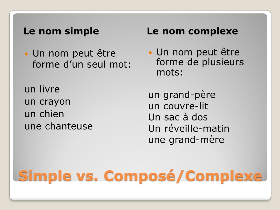 Simple vs. Composé/Complexe