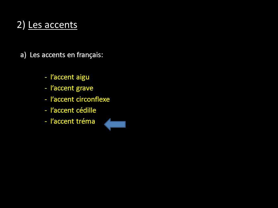 2) Les accents a) Les accents en français: - l'accent aigu - l'accent grave - l'accent circonflexe - l'accent cédille - l'accent tréma