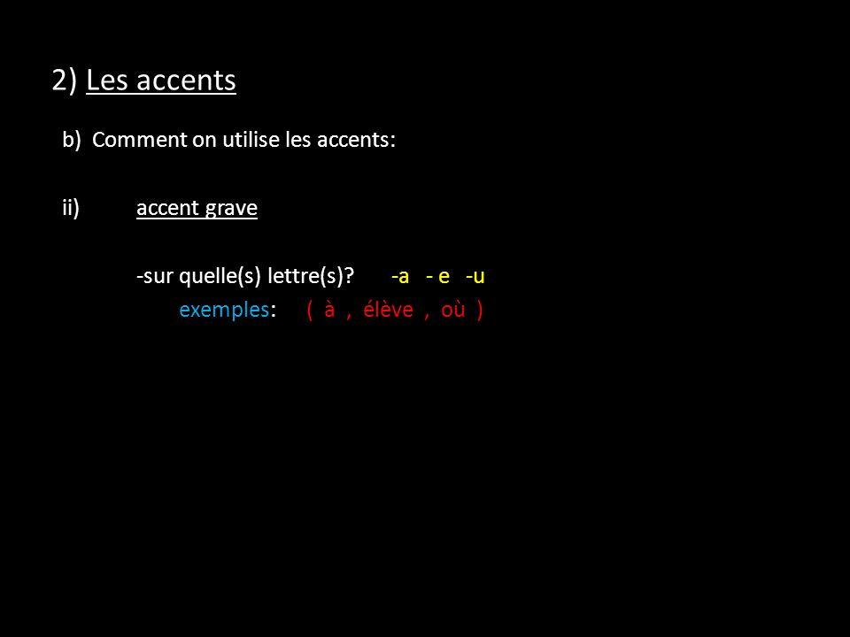 2) Les accents b) Comment on utilise les accents: ii) accent grave -sur quelle(s) lettre(s).