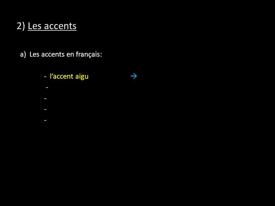 2) Les accents a) Les accents en français: - l'accent aigu  -