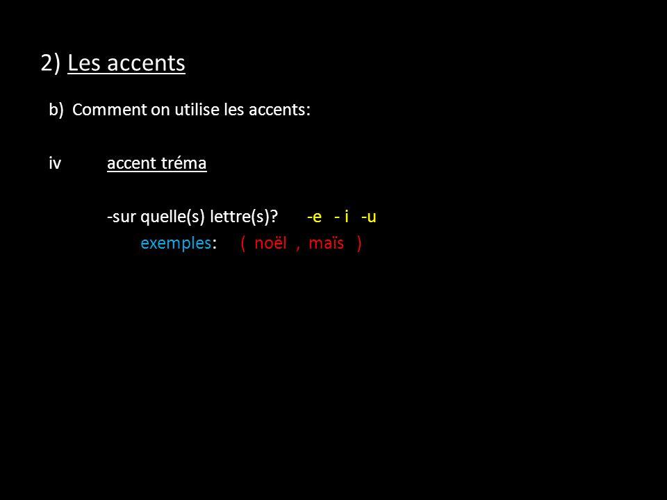 2) Les accents b) Comment on utilise les accents: iv accent tréma -sur quelle(s) lettre(s).