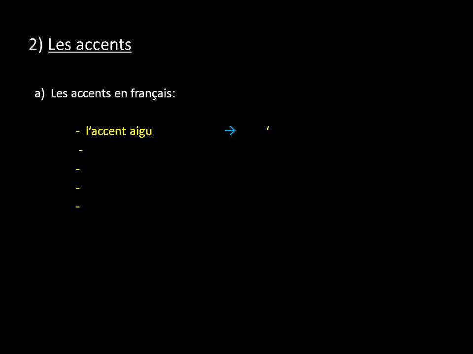 2) Les accents a) Les accents en français: - l'accent aigu  ' -