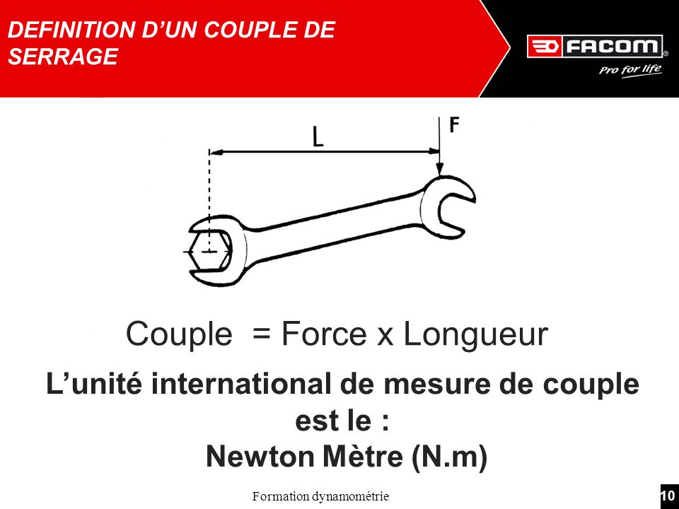 DEFINITION D'UN COUPLE DE SERRAGE