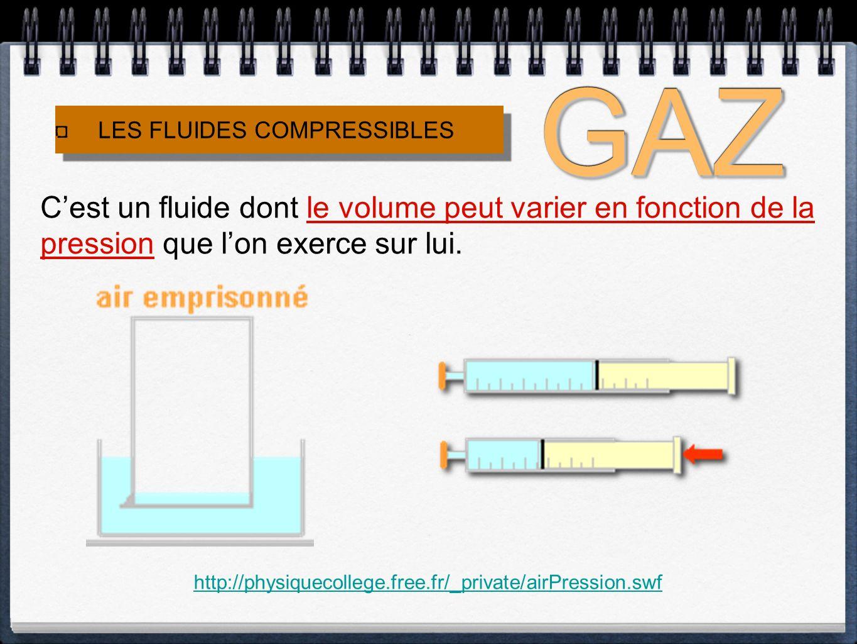 GAZ LES FLUIDES COMPRESSIBLES. C'est un fluide dont le volume peut varier en fonction de la pression que l'on exerce sur lui.