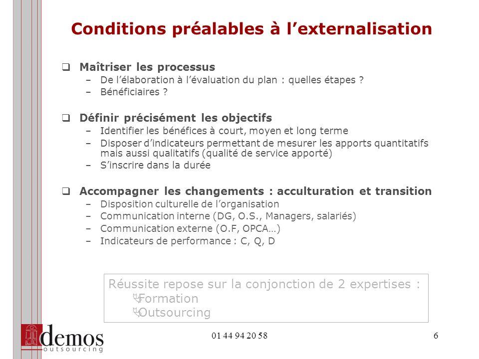Conditions préalables à l'externalisation