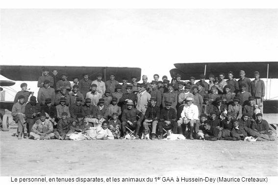 Le personnel, en tenues disparates, et les animaux du 1er GAA à Hussein-Dey (Maurice Creteaux)