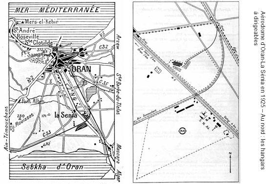 Aérodrome d'Oran-La Sénia en 1925 – Au nord : les hangars à dirigeables