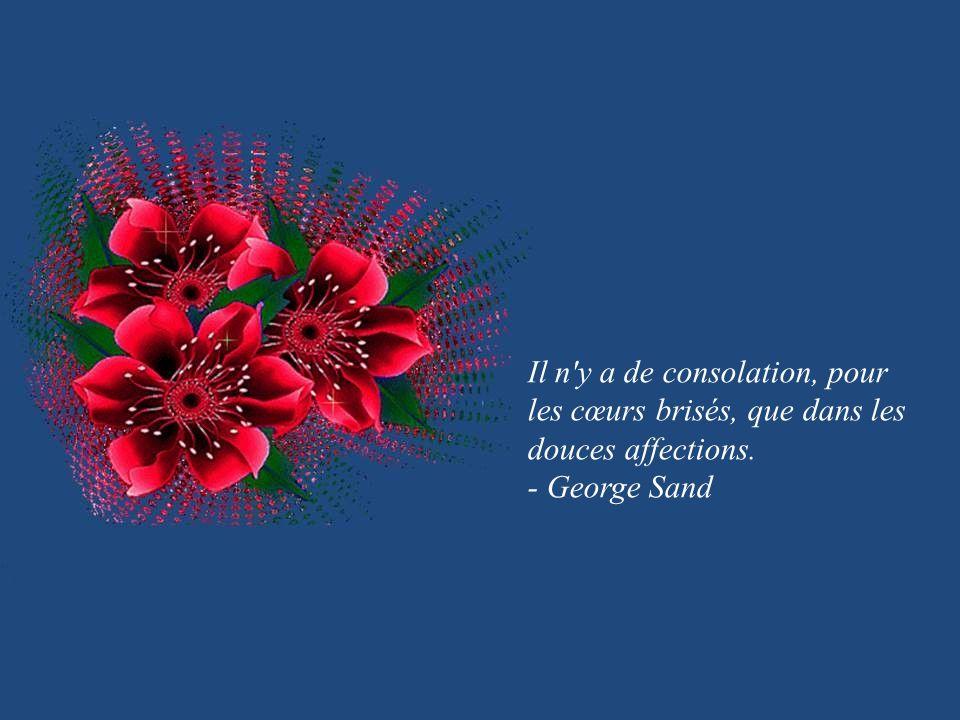 Il n y a de consolation, pour les cœurs brisés, que dans les douces affections.