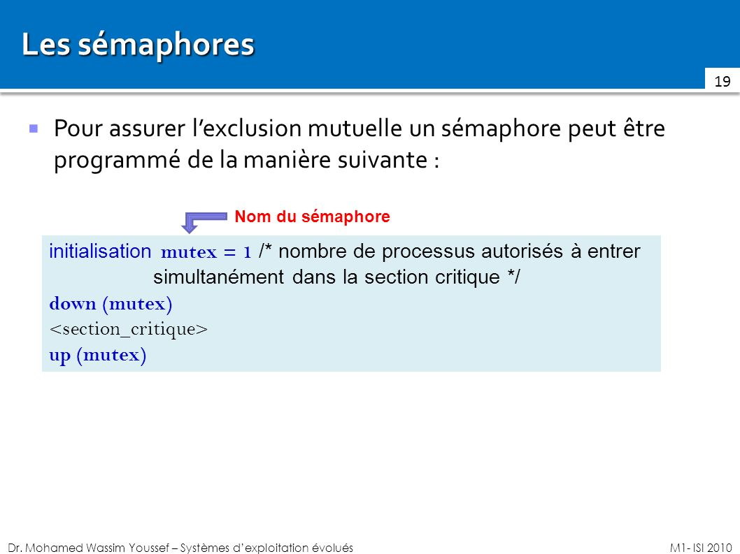 Les sémaphores Pour assurer l'exclusion mutuelle un sémaphore peut être programmé de la manière suivante :