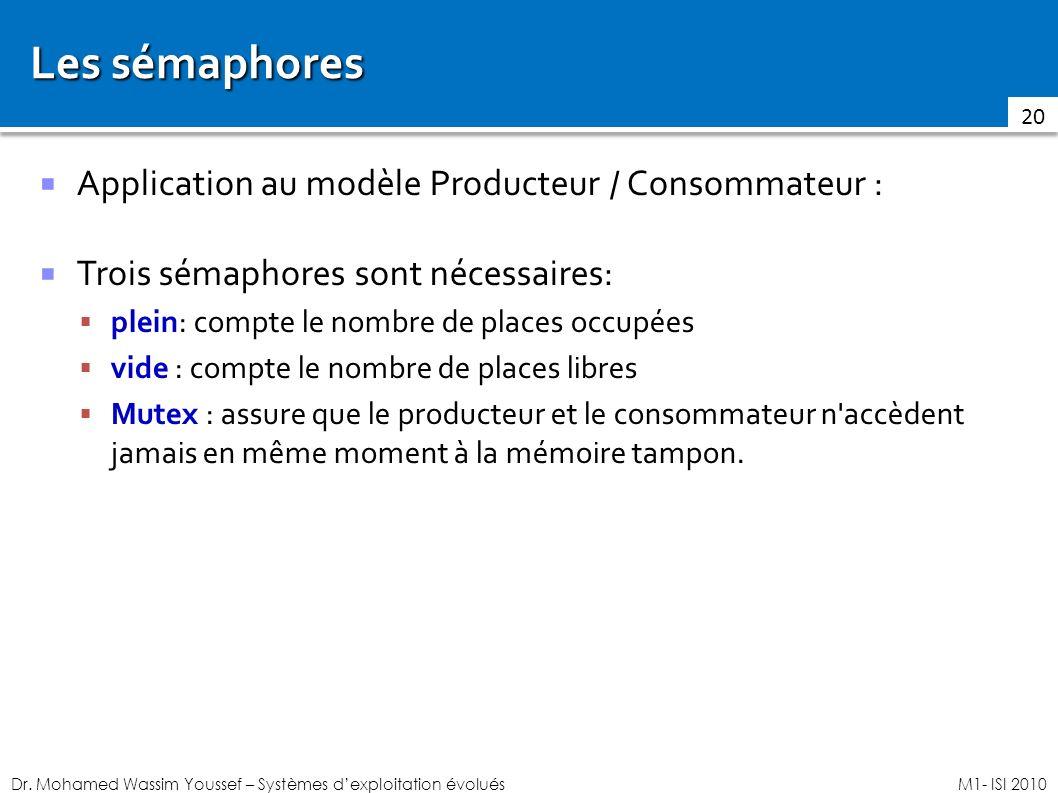 Les sémaphores Application au modèle Producteur / Consommateur :