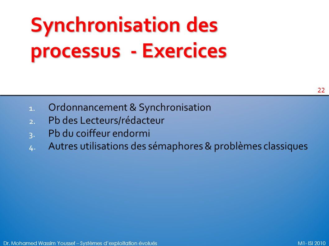 Synchronisation des processus - Exercices