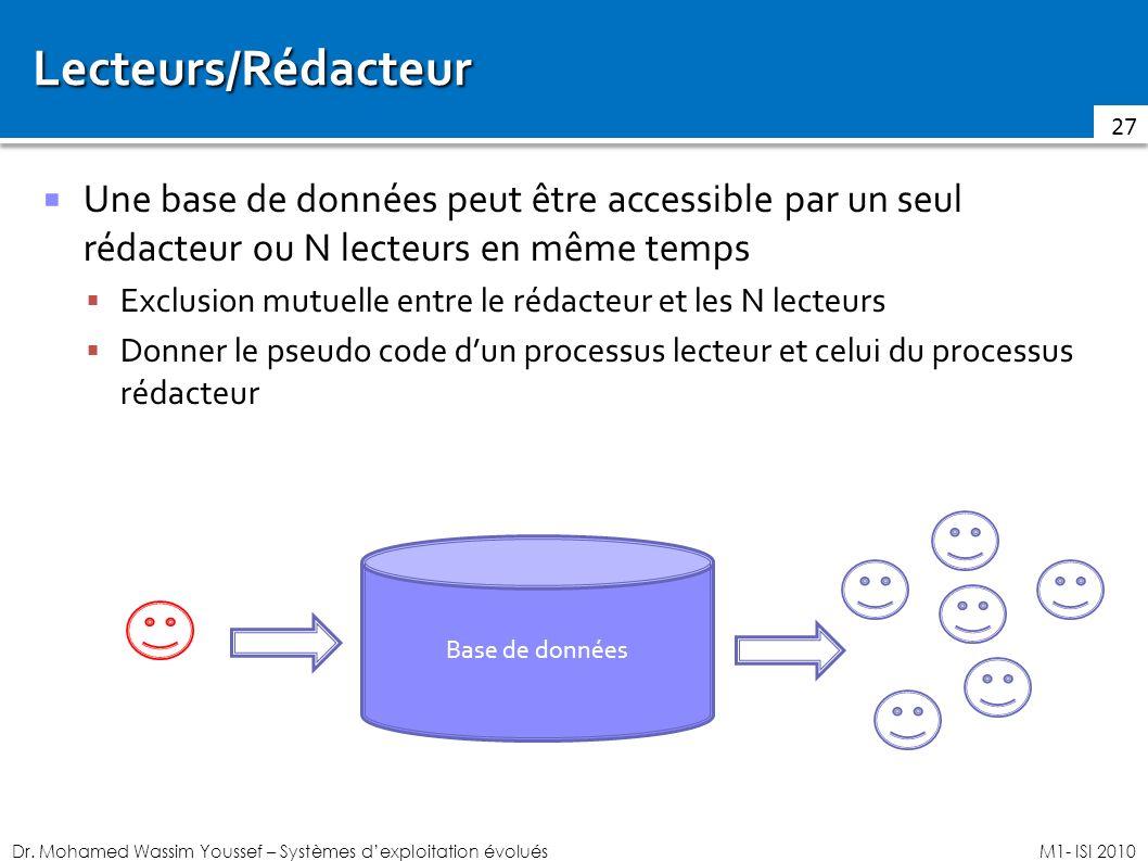 Lecteurs/Rédacteur Une base de données peut être accessible par un seul rédacteur ou N lecteurs en même temps.