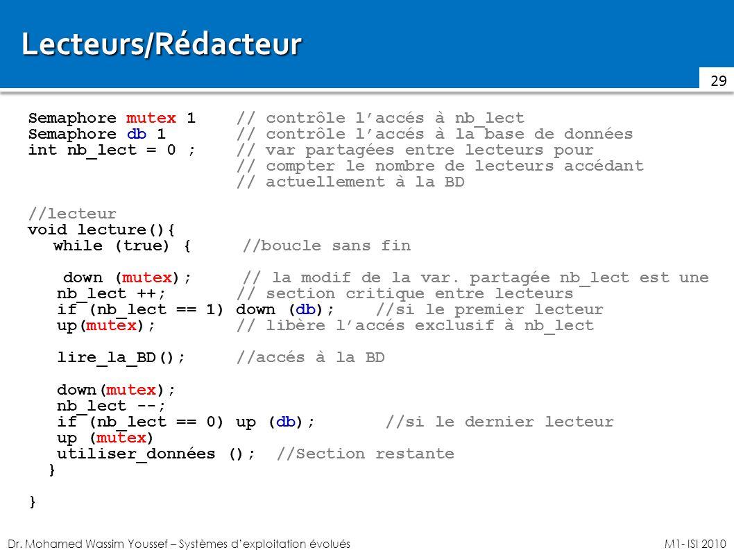 Lecteurs/Rédacteur Semaphore mutex 1 // contrôle l'accés à nb_lect