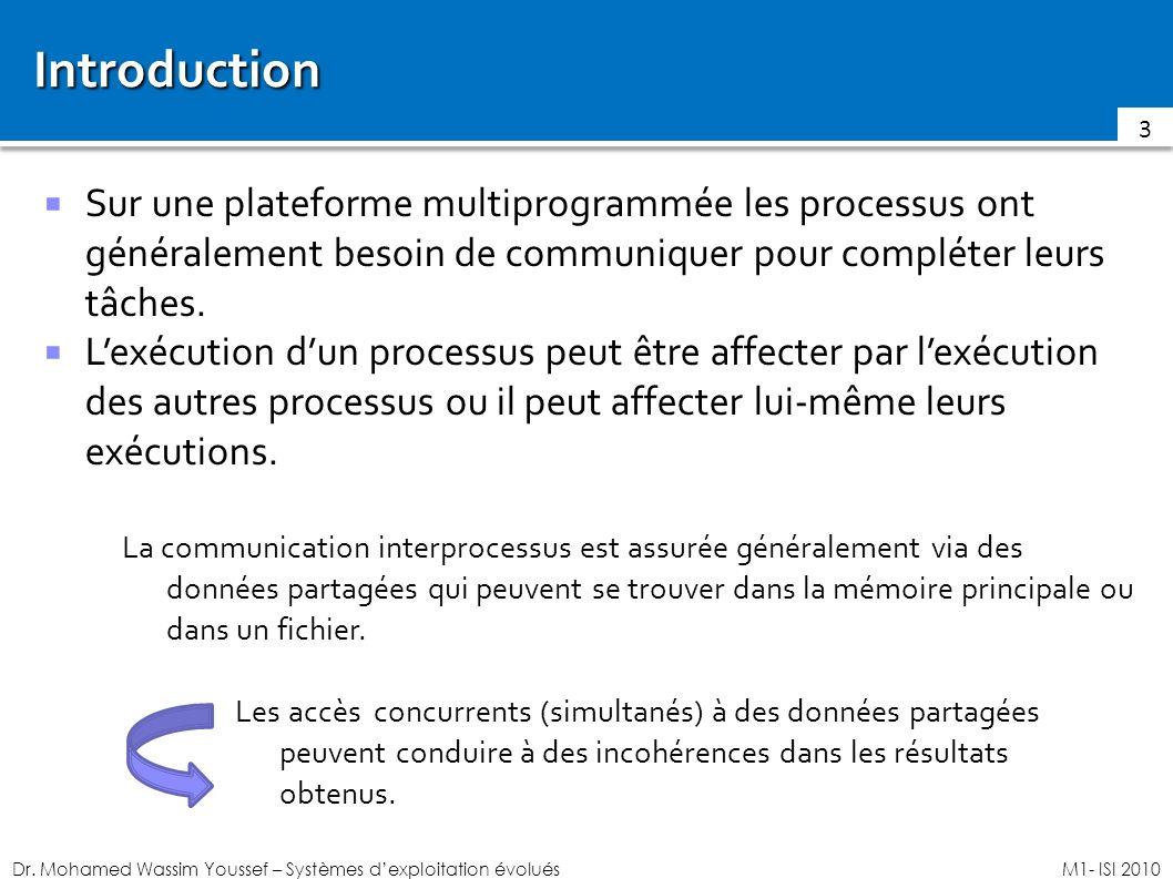 Introduction Sur une plateforme multiprogrammée les processus ont généralement besoin de communiquer pour compléter leurs tâches.