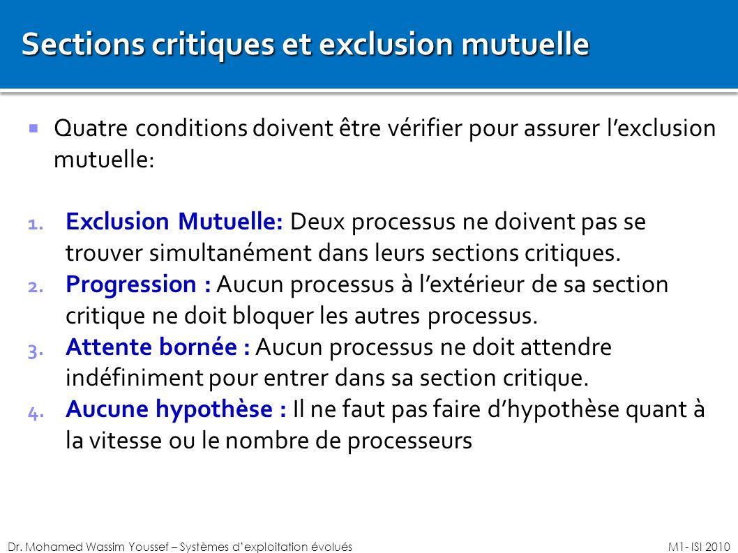 Sections critiques et exclusion mutuelle