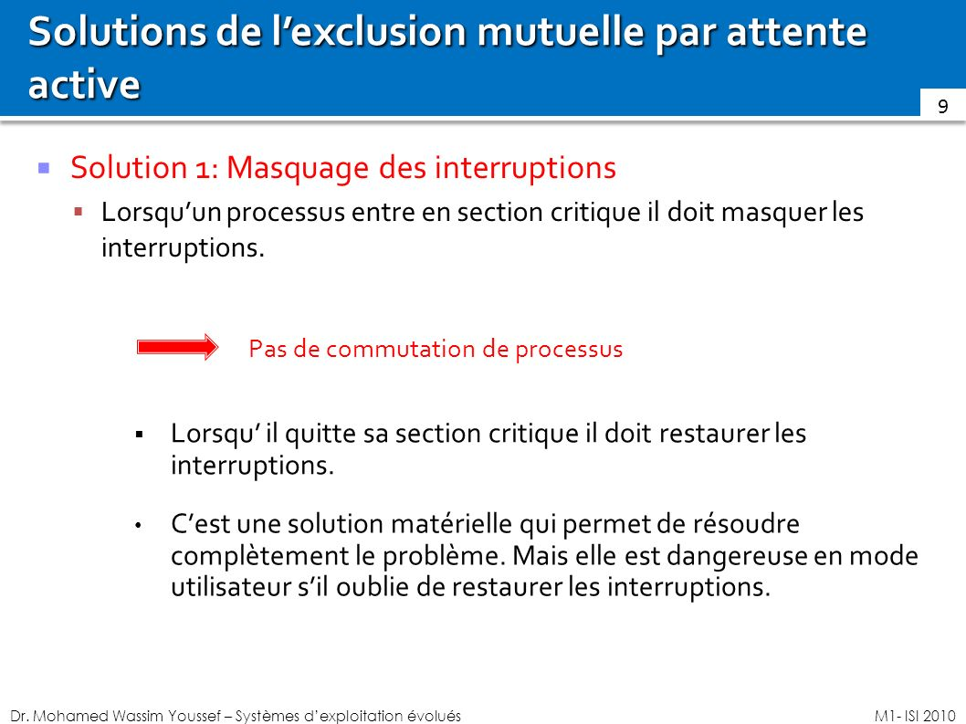 Solutions de l'exclusion mutuelle par attente active