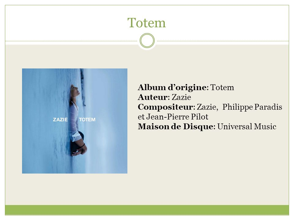 Totem Album d'origine: Totem Auteur: Zazie