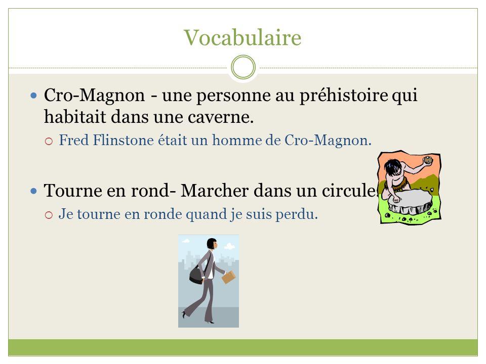 Vocabulaire Cro-Magnon - une personne au préhistoire qui habitait dans une caverne. Fred Flinstone était un homme de Cro-Magnon.