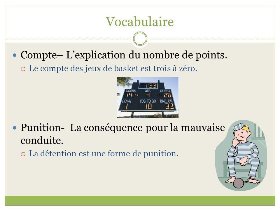 Vocabulaire Compte– L'explication du nombre de points.