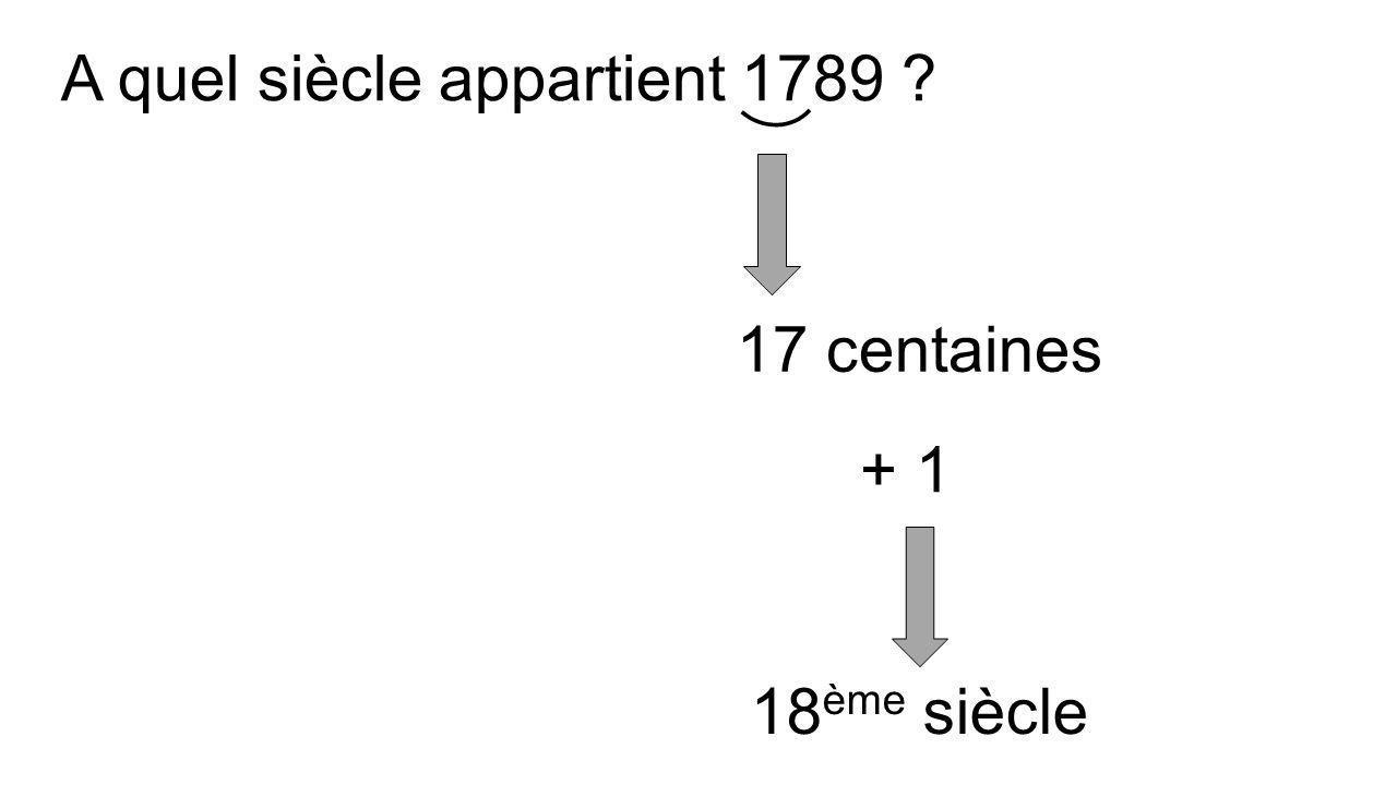 A quel siècle appartient 1789