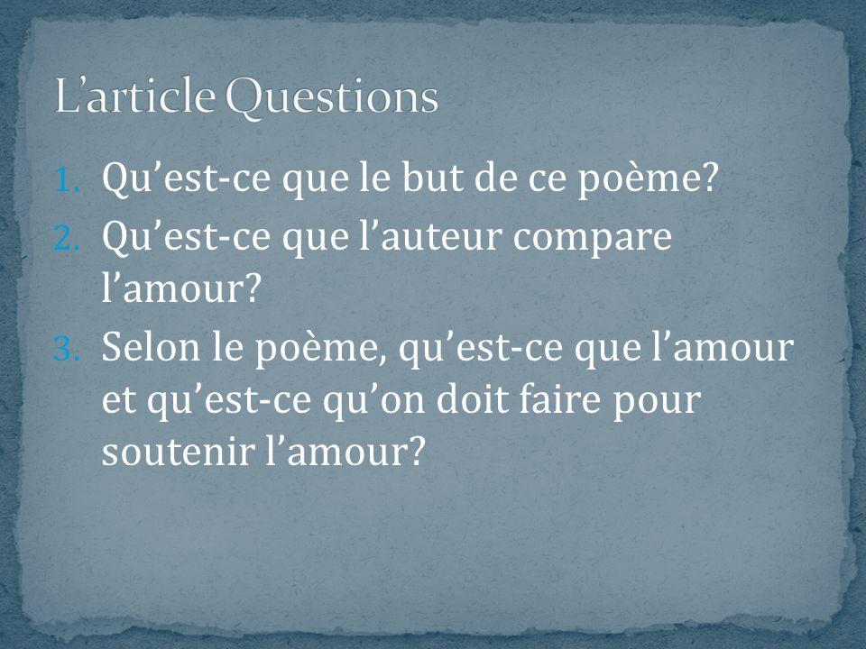L'article Questions Qu'est-ce que le but de ce poème