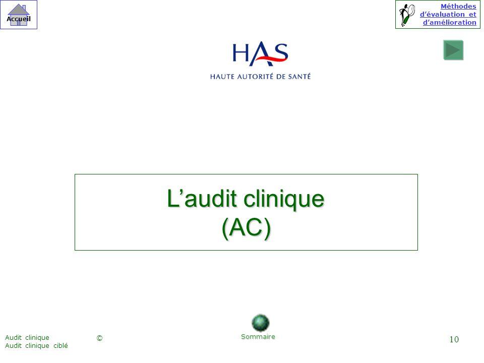 L'audit clinique (AC) Audit clinique Audit clinique ciblé Sommaire
