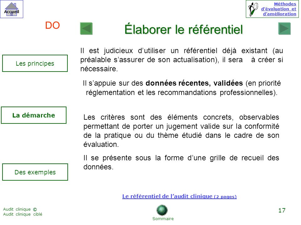 Le référentiel de l'audit clinique (2 pages)