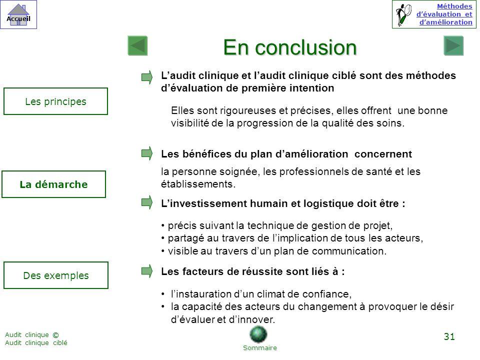 En conclusion L'audit clinique et l'audit clinique ciblé sont des méthodes d'évaluation de première intention.