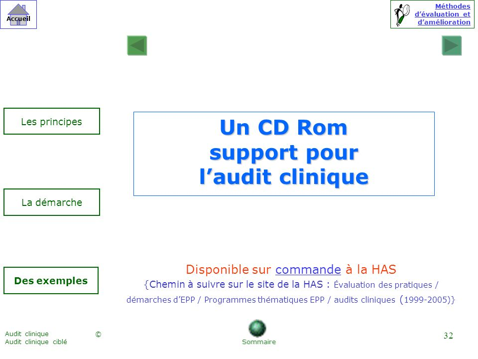 Un CD Rom support pour l'audit clinique