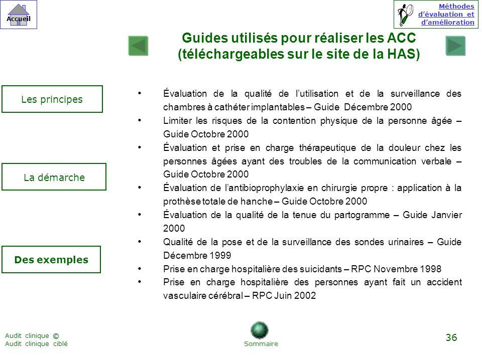 Guides utilisés pour réaliser les ACC (téléchargeables sur le site de la HAS)