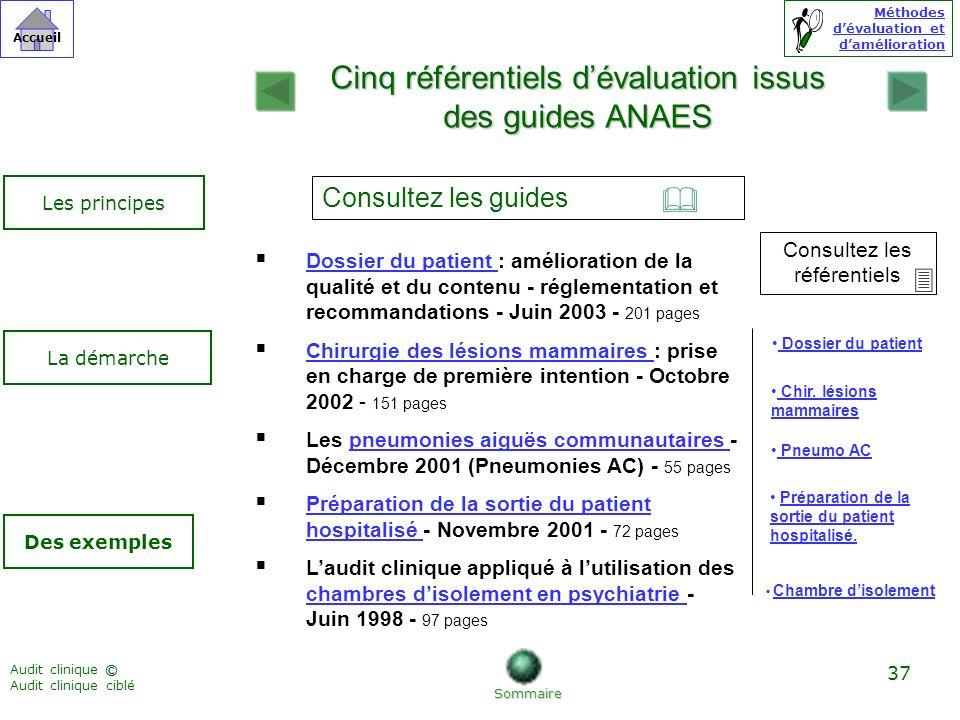 Cinq référentiels d'évaluation issus des guides ANAES