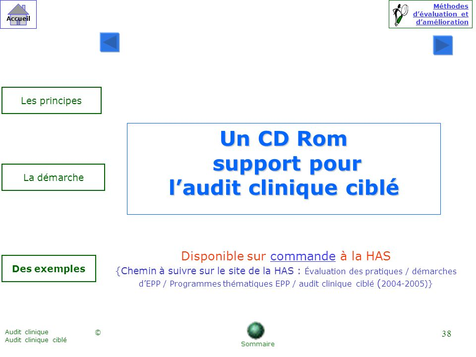 Un CD Rom support pour l'audit clinique ciblé