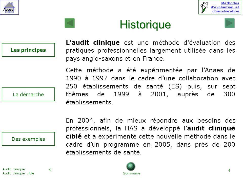 Historique L'audit clinique est une méthode d'évaluation des pratiques professionnelles largement utilisée dans les pays anglo-saxons et en France.