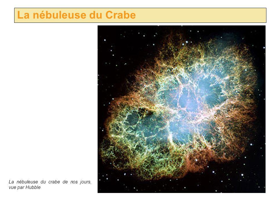 La nébuleuse du Crabe La nébuleuse du crabe de nos jours, vue par Hubble