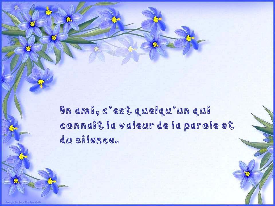 Un ami, c'est quelqu'un qui connaît la valeur de la parole et du silence.