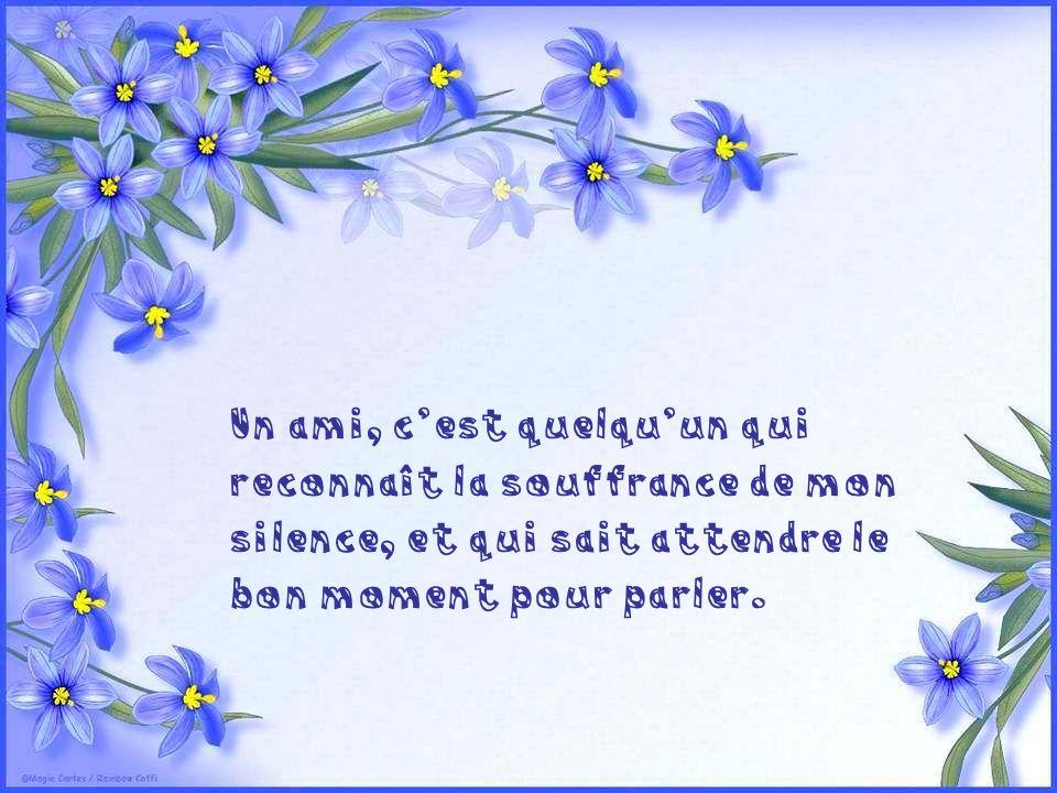 Un ami, c'est quelqu'un qui reconnaît la souffrance de mon silence, et qui sait attendre le bon moment pour parler.