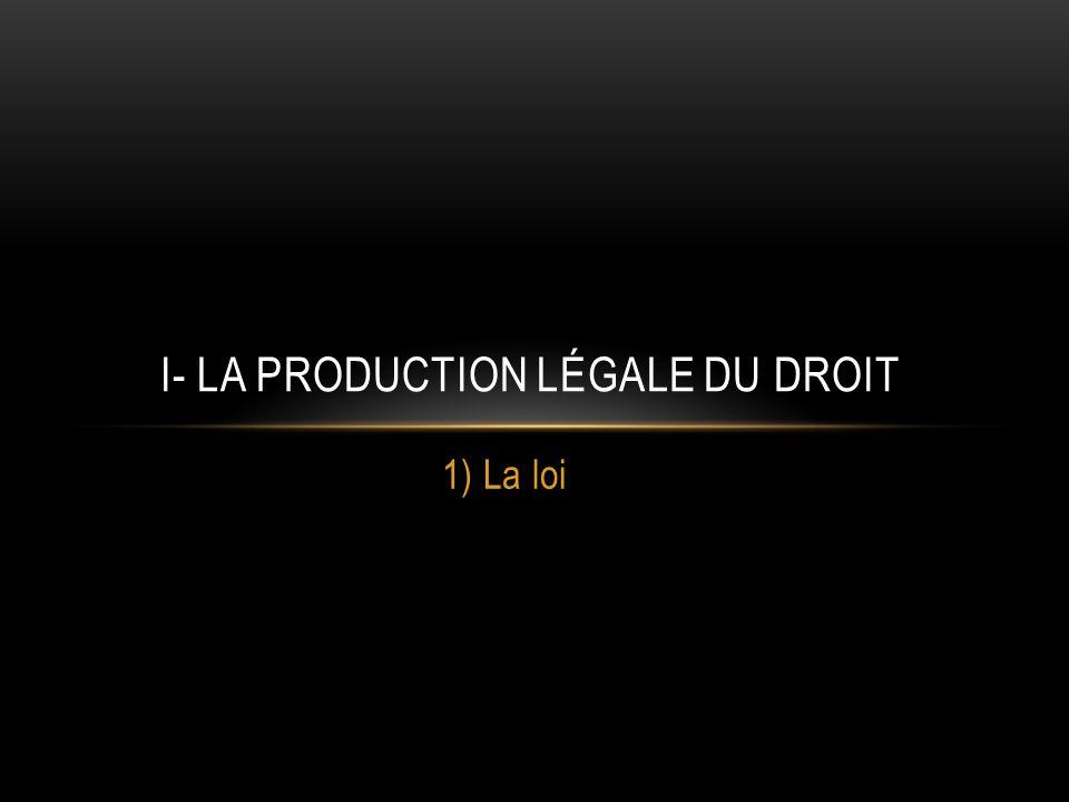 I- La production légale du droit