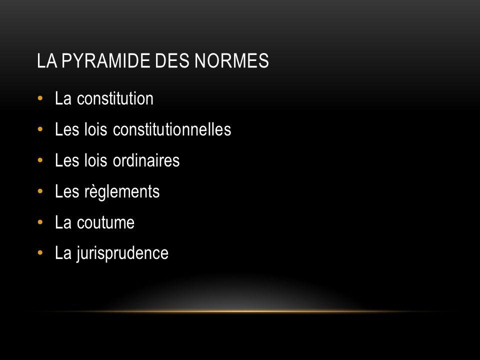 La pyramide des normes La constitution Les lois constitutionnelles
