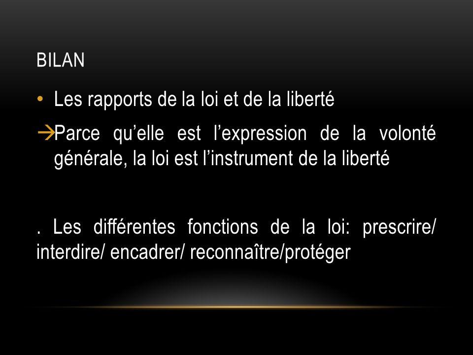 Les rapports de la loi et de la liberté