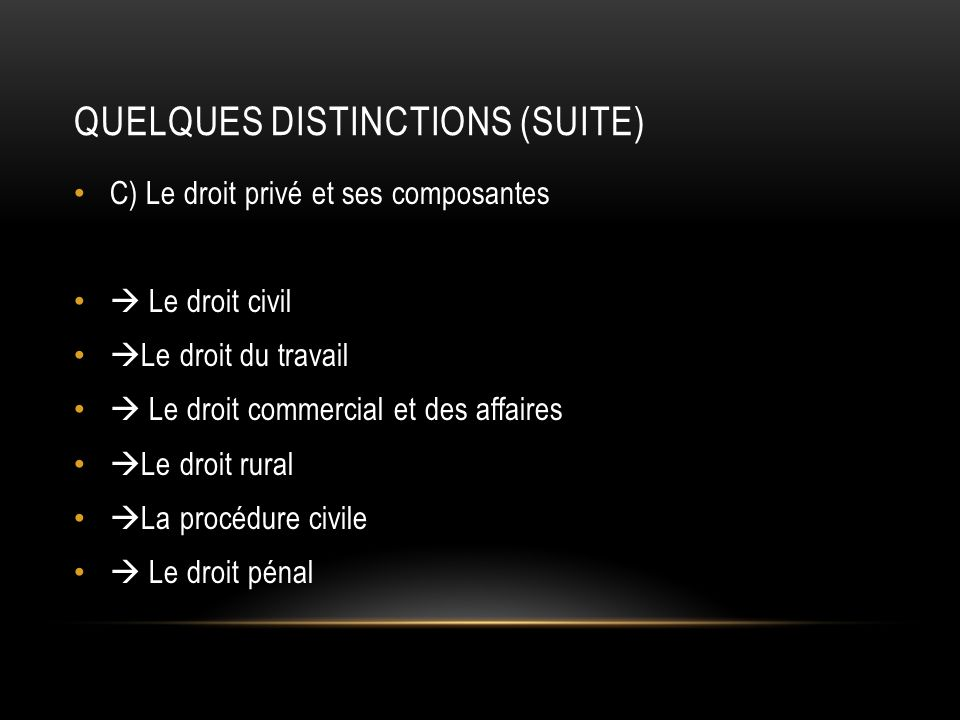 Quelques distinctions (suite)