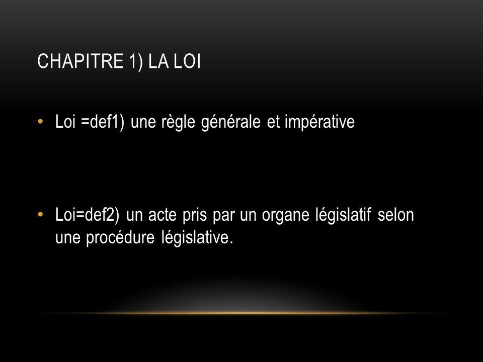 Chapitre 1) La loi Loi =def1) une règle générale et impérative