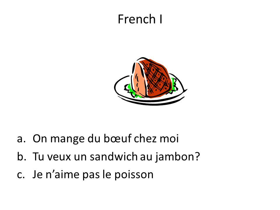 French I On mange du bœuf chez moi Tu veux un sandwich au jambon